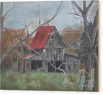 Wood Print featuring the painting Barn - Red Roof - Autumn by Jan Dappen