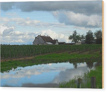Barn Reflected In Pond  Wood Print by Karen Molenaar Terrell