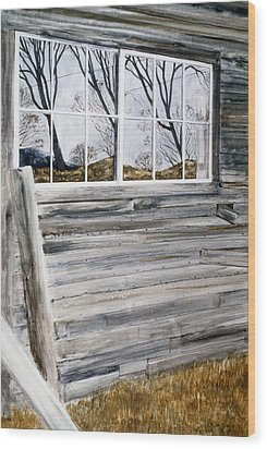 Barn Reflection Wood Print by Karol Wyckoff
