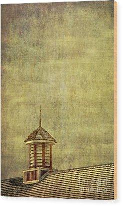 Barn Rooftop With Weather Vane Wood Print by Birgit Tyrrell
