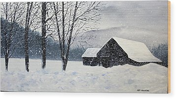 Barn Storm Wood Print by Ken Ahlering