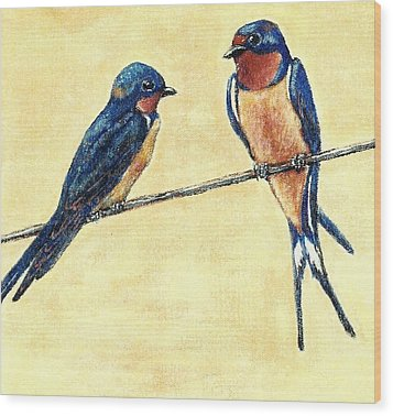 Barn-swallow Pair Wood Print