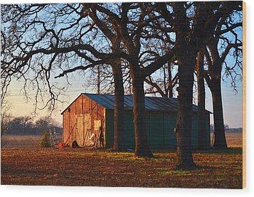 Barn Under Oak Trees Wood Print by Ricardo J Ruiz de Porras