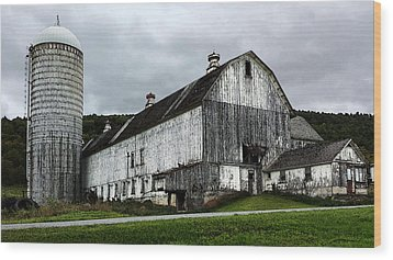 Barn With Silo Wood Print by Michael Spano