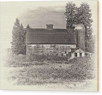 Barn With Silo Wood Print by Ron Roberts