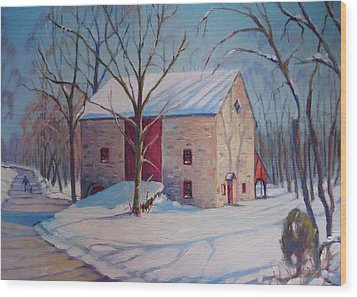 Barn With The Red Door Wood Print