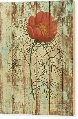 Barn Wood Texture Poppy Flower Botanical Art Wood Print by Cranberry Sky