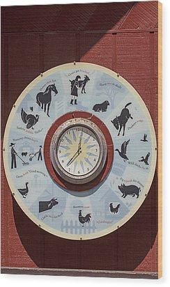 Barn Yard Clock Wood Print by Garry Gay