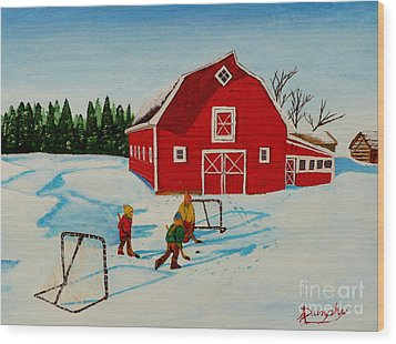 Barn Yard Hockey Wood Print by Anthony Dunphy