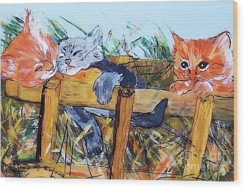 Barncats Wood Print by Lucia Grilletto