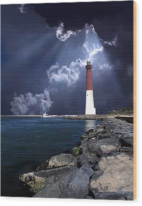Barnegat Inlet Lighthouse Nj Wood Print by Skip Willits