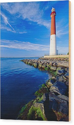 Barnegat Lighthouse Long Beach Island New Jersey Wood Print by George Oze