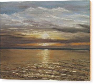 Barnegat Sunset Wood Print by Joan Swanson