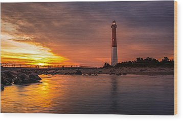Barnegat Sunset Light Wood Print
