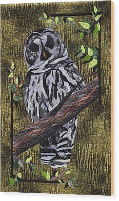 Wood Print featuring the tapestry - textile Barney Whoo? by Jo Baner