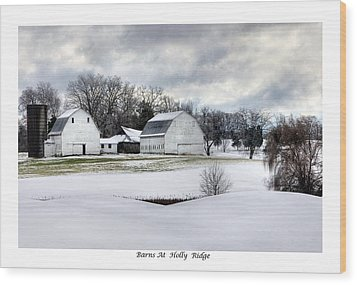 Barns At Holly Ridge Wood Print by Terry Spencer