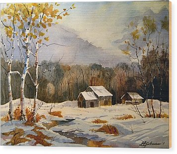 Barns On Canoe Lake Road Wood Print