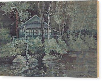 Barnstead Summer Cottage Wood Print by Joy Nichols