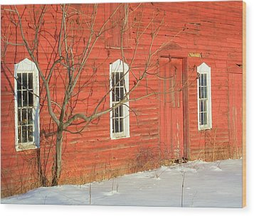 Wood Print featuring the photograph Barnwall In Winter by Rodney Lee Williams
