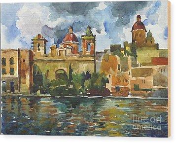 Baroque Domes And Baroque Skies Of Vittoriosa In Malta Wood Print by Anna Lobovikov-Katz