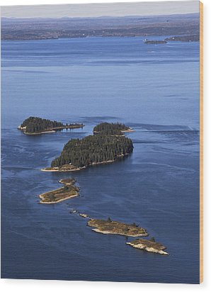 Barred Islands, Penobscot Bay Wood Print by Dave Cleaveland