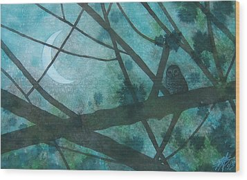Barred Owl Moon Wood Print