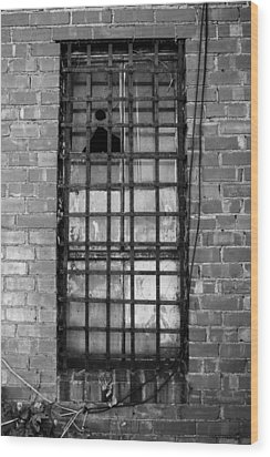 Barred Window Wood Print by Nathan Hillis