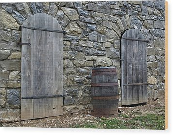Wood Print featuring the photograph Barrel And Barn Doors by Gene Walls