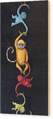 Barrel Of Monkeys Wood Print by Leah Saulnier The Painting Maniac