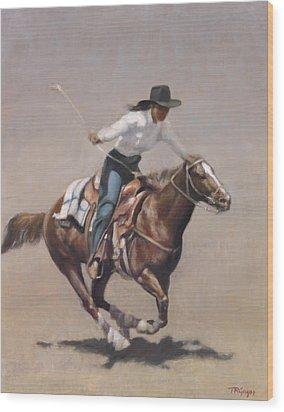 Barrel Racer Salinas Rodeo Wood Print by Terry Guyer