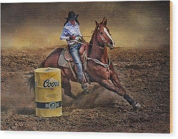 Barrel-rider Cowgirl Wood Print