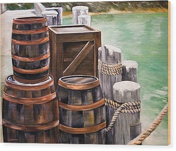Wood Print featuring the painting Barrels On The Pier by Ellen Canfield