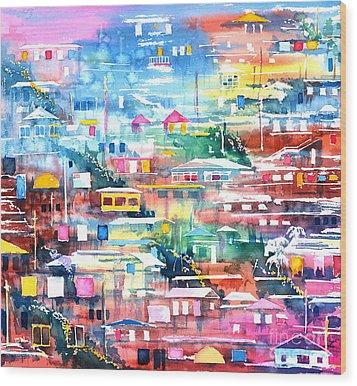 Barrio El Cerro De Yauco Wood Print by Zaira Dzhaubaeva