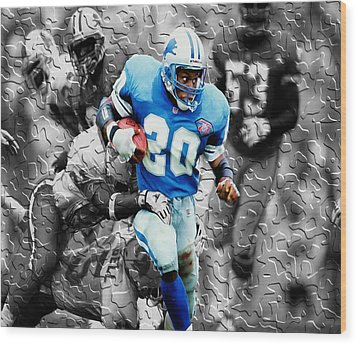 Barry Sanders Breaking Out Wood Print