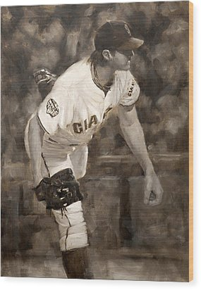Barry Zito - Redemption Wood Print by Darren Kerr
