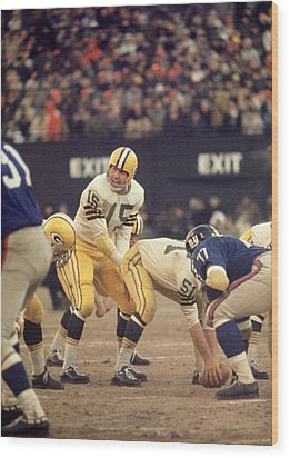 Bart Starr Calls Out The Snap Wood Print by Retro Images Archive