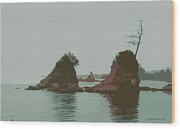 Barview Rocks Wood Print