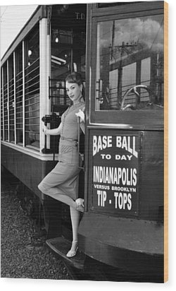 Wood Print featuring the photograph Base Ball To Day Bw Version by Jim Poulos