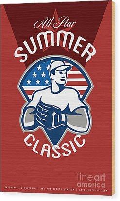 Baseball All Star Summer Classic Poster Wood Print by Aloysius Patrimonio