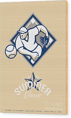 Baseball All Star Summer Classic Retro Poster Wood Print by Aloysius Patrimonio