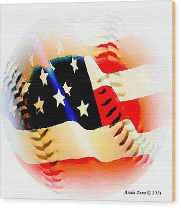 Baseball And American Flag Wood Print