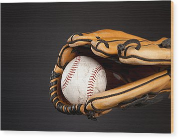 Baseball And Glove Wood Print by Joe Belanger