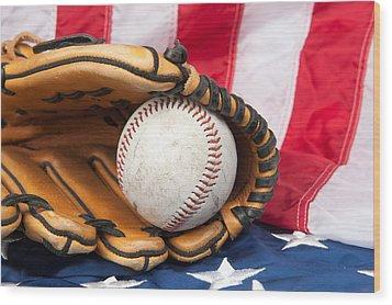 Baseball And Glove On American Flag Wood Print by Joe Belanger