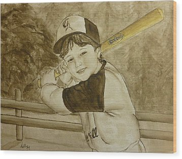 Wood Print featuring the painting Baseball At It's Best by Kelly Mills