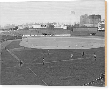 Baseball At Yankee Stadium Wood Print by Underwood Archives