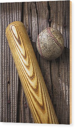 Baseball Bat And Ball Wood Print by Garry Gay