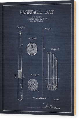 Baseball Bat Patent Drawing From 1921 Wood Print
