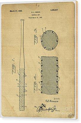 Baseball Bat Patent Wood Print by Edward Fielding