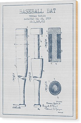 Baseball Bat Patent From 1919 - Blue Ink Wood Print by Aged Pixel