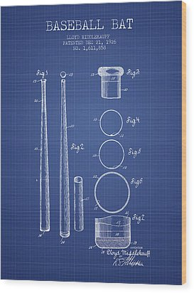 Baseball Bat Patent From 1926 - Blueprint Wood Print